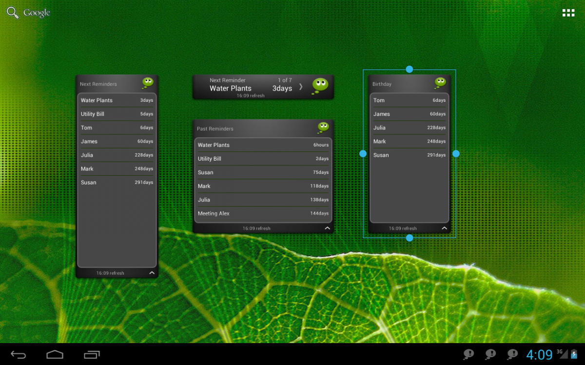 Tablet Widgets